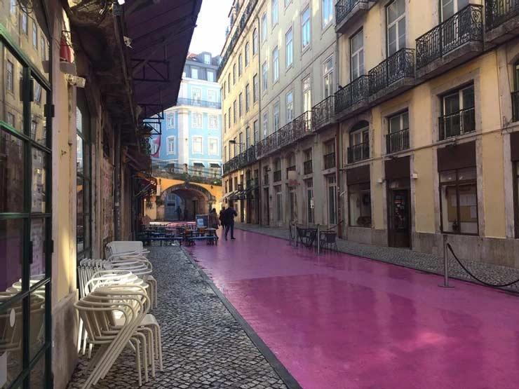 'Pink street', Lisbon, Portugal