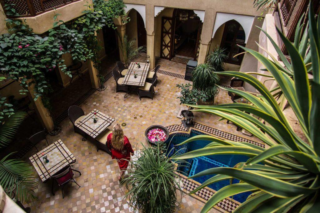Riad courtyard in Marrakech, Morocco