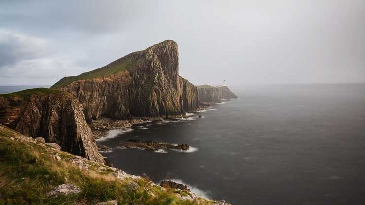 Neist Point Lighthouse on the most westerly point of the Isle of Skye while Visiting Scotland