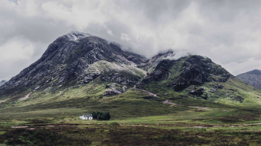The valleys of Glencoe in the Scottish highlands