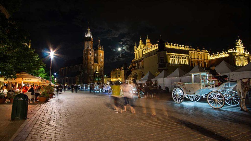 Krakow at night, Poland
