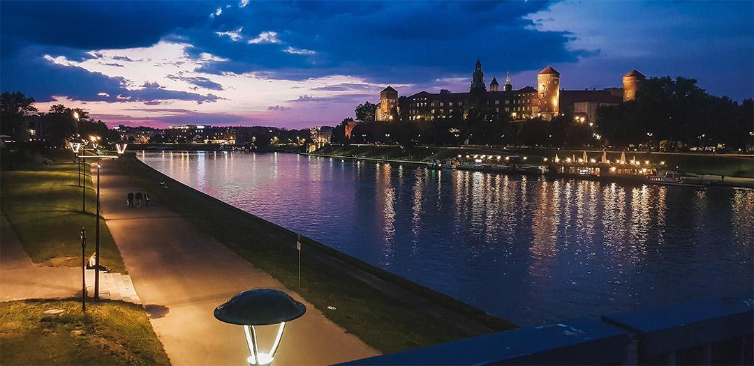 Sunset/twilight over the bridge Krakow, Wawel castle