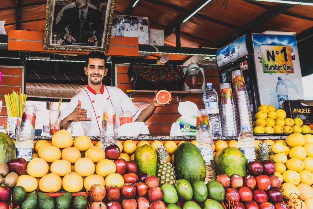 Fresh juice at Jemaa el-Fnaa in Marrakech, Morocco