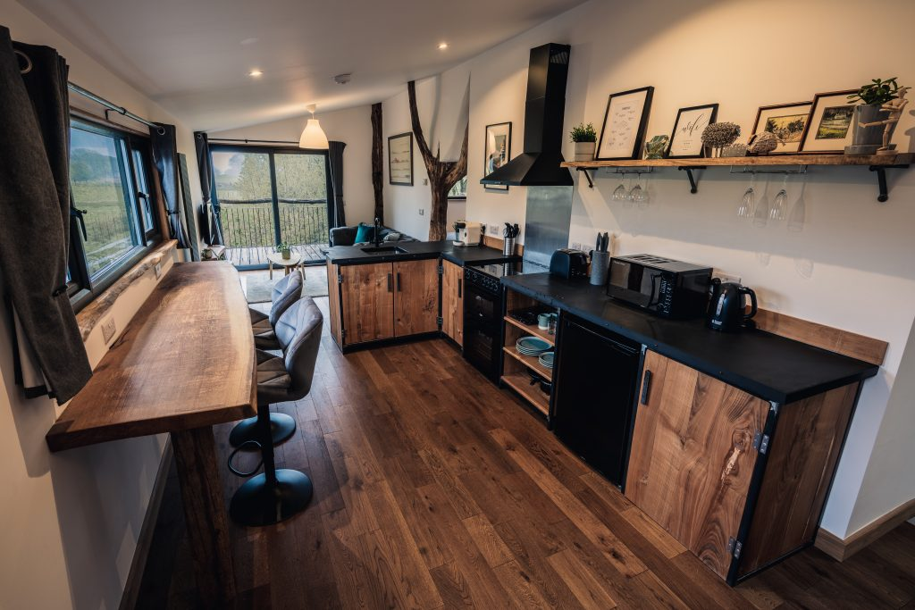The Pens, Coed Cabins, Kitchen - North Wales