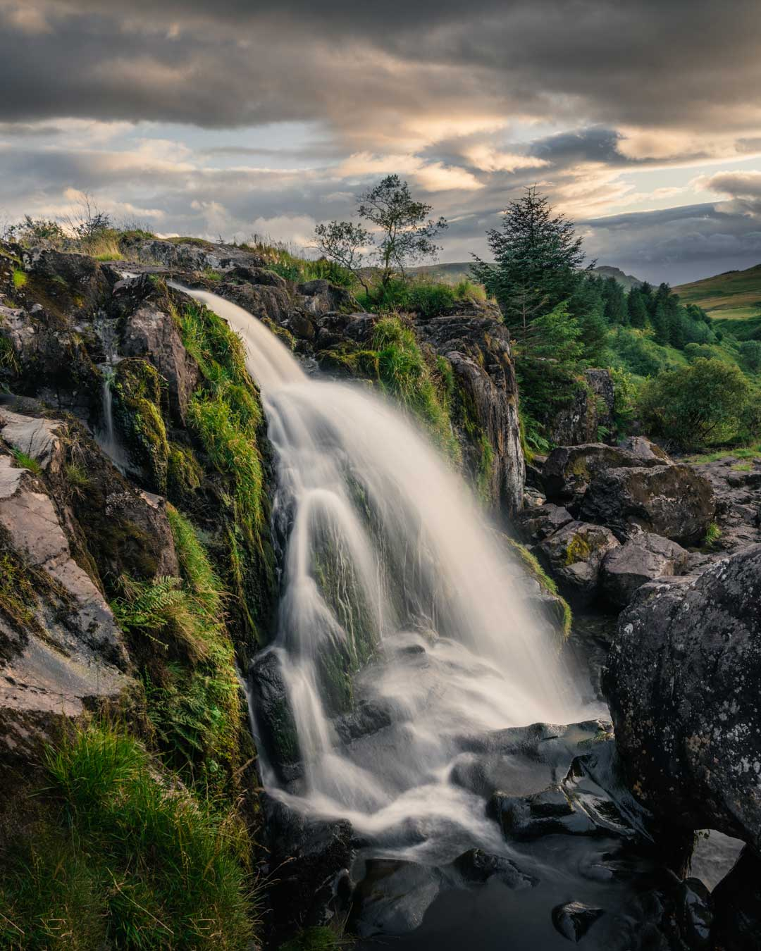 Loup of Fintry Waterfall in Stirling, Scotland, UK